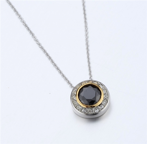 4031354 Designer Inspired Black Onyx CZ Pendant Necklace 2 Tone With Chain