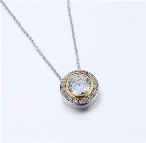 4031357 Designer Inspired Clear CZ Diamond Pendant Necklace 2 Tone With Chain