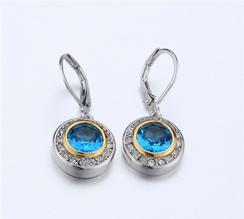 4031358 Designer Inspired Aquamarine Blue CZ Earrings 2 Tone