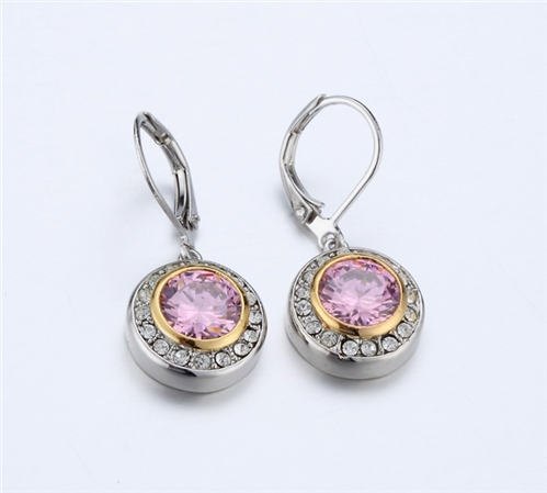 4031365 Designer Inspired Pink Tourmaline CZ Earrings 2 Tone