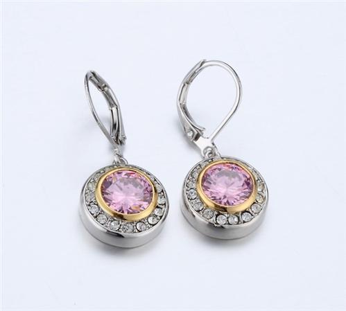 4031365 Designer Inspired Pink Tourmaline CZ Earrings 2 Tone