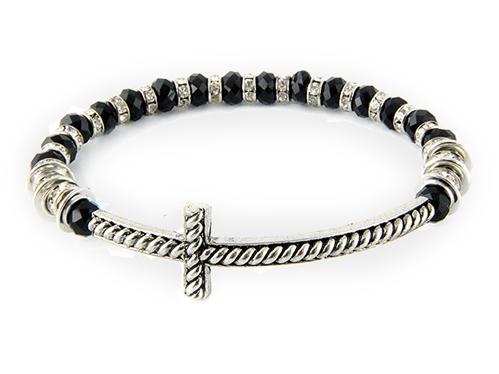 4031425 Beaded Cross Stretch Bracelet Black Beads Rhinestones Christian Fashion