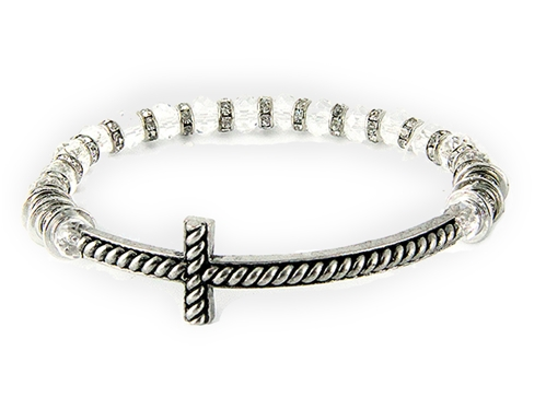 4031426 Beaded Cross Stretch Bracelet Clear Beads Rhinestones Christian Fashion