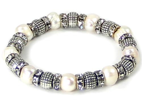 4031429 Beaded Fashion Stretch Bracelet Simulated Pearls & Rhinestones