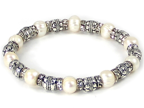 4031430 Beaded Fashion Stretch Bracelet Simulated Pearls & Rhinestones