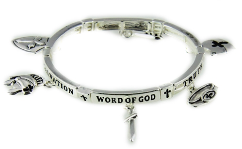 4031441 Armor of God Charm Bracelet Stretch Christian Scripture Word of God