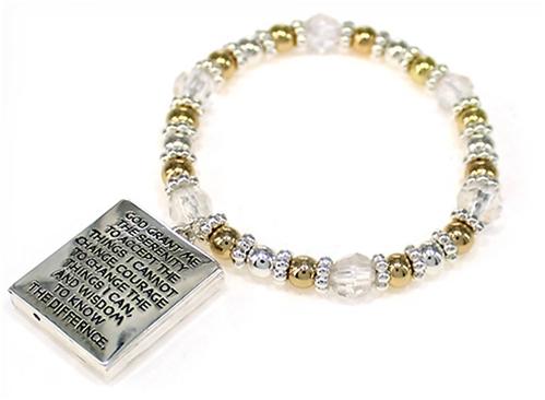 4031458 Serenity Prayer Picture Frame Locket Style Stretch Bracelet Bead Beaded