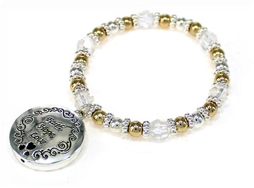 4031459 Faith Hope Love Picture Frame Locket Style Stretch Bracelet Bead Beaded