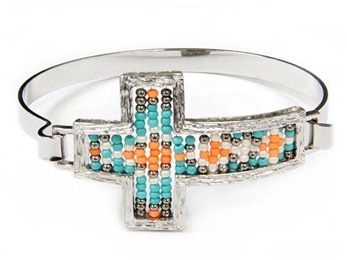 4031486 Beaded Cross Bracelet Christian Fashion Religious