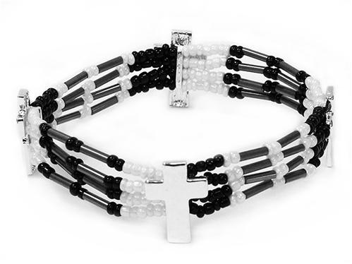 4031487 Delicate Beaded Cross Bracelet Christian Fashion Religious Detailed