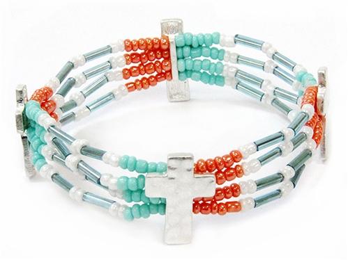 4031488 Delicate Beaded Cross Bracelet Christian Fashion Religious Detailed