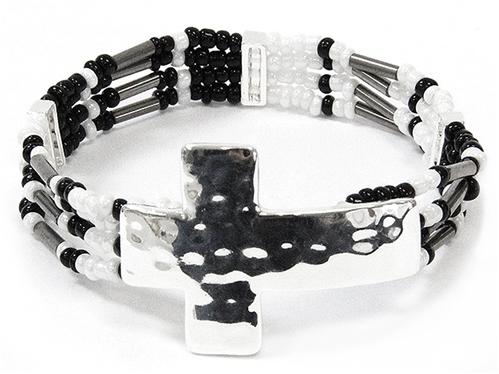 4031489 Delicate Beaded Cross Bracelet Christian Fashion Religious Detailed