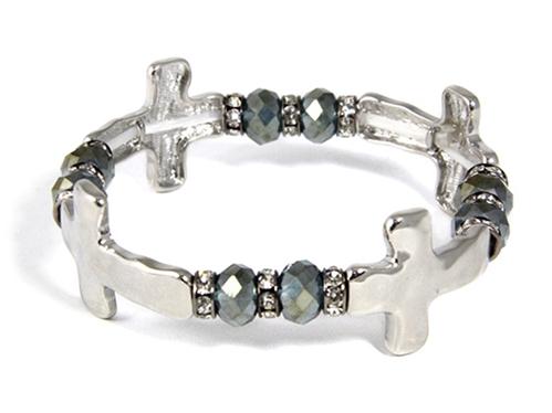 4031494 Repeating Crosses & Beaded Stretch Bracelet Christian Religous Inspir...