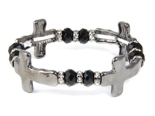 4031495 Repeating Crosses & Beaded Stretch Bracelet Christian Religous Inspir...