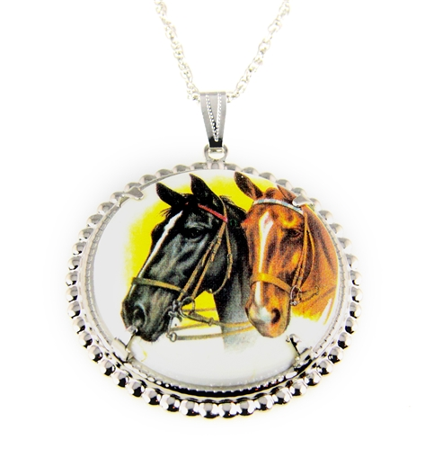 4031508 Horse Pendant Necklace Equine Equestrian Western Theme Cowgirl
