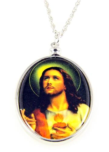 4031510 Jesus Pendant Necklace Sacred Heart Crucified Christ Bleeding Heart