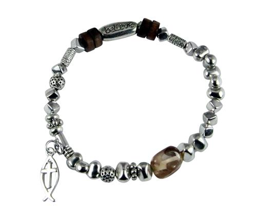 4031581 Believe Beaded Charm Stretch Bracelet Faith Encouragement Icthus Christian Fish …