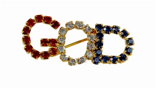 6030100 GOD Rhinestone Brooch Pin Lapel Red White & Blue Brilliant Sparkling