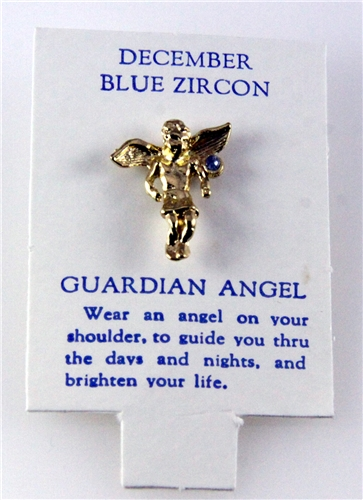 6030123 Guardian Angel Lapel Pin Tack Brooch December Blue