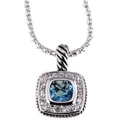 6030184 Designer Inspired Necklace with Beautiful Brilliant Aquamarine CZ Sto...