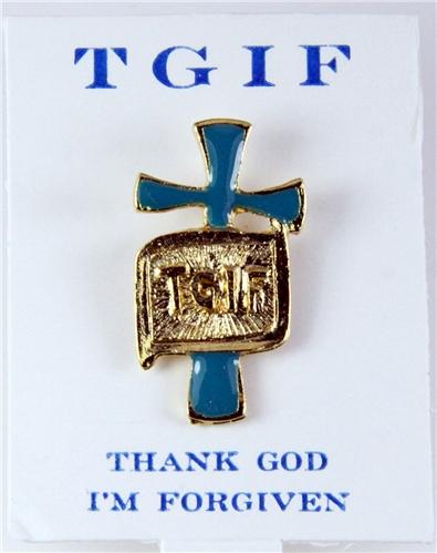 81524e77582b 6030241 TGIF Thank God I'm Forgiven Lapel Pin Tie Tack Brooch Christian  Jewelry