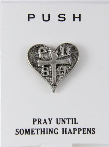 b8dc88a655d8 6030242 PUSH Pray Until Something Happens Lapel Pin Tie Tack Brooch  Christian