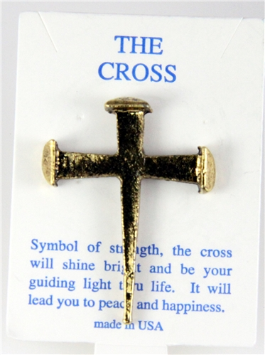 6030273 Rugged Nail Cross Lapel Pin Jesus Christian Nails Brooch Tie Tack