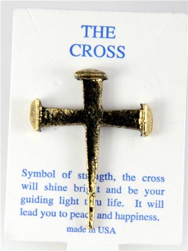 6030273 Rugged Nail Cross Lapel Pin Jesus Christian Nails Brooch Tie Tack