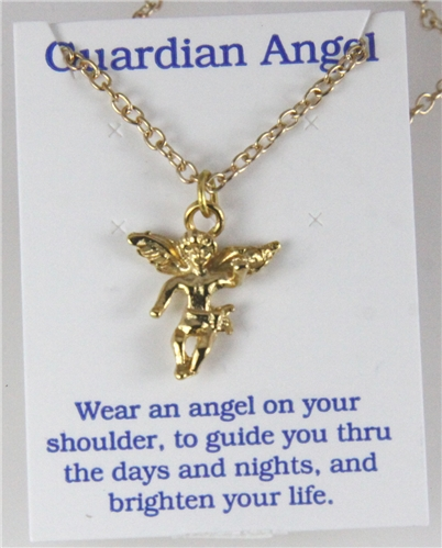 6030276 Guardian Angel Necklace Christian Religious Jewelry Touched By An Arc...