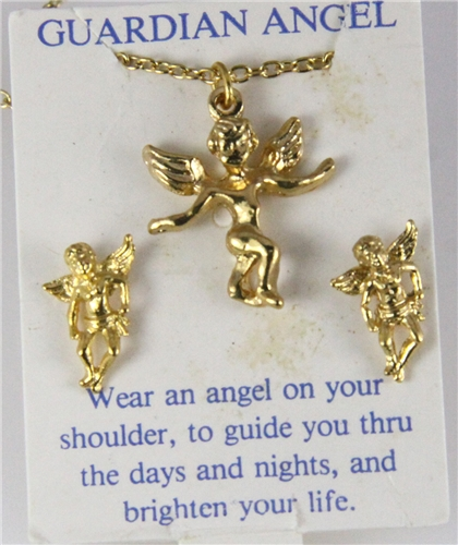 6030278 Guardian Angel Necklace & Earring Set Christian Religious Jewelry Sec...