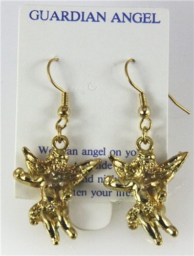 6030319 Guardian Angel Earrings 14kt Gold Plated Dangle Cross Relig