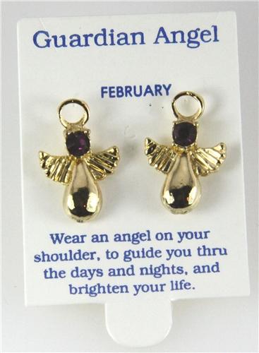 6030321 February Guardian Angel Birthstone Stud 14kt Gold Plated Earrings Chr...