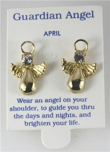 6030323 April Guardian Angel Birthstone Stud 14kt Gold Plated Earrings Christ...