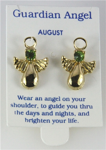 6030327 August Guardian Angel Birthstone Stud 14kt Gold Plated Earrings Chris...