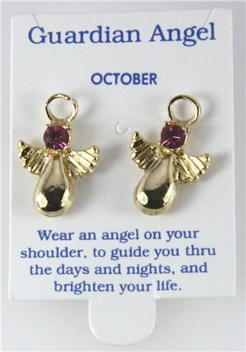 6030329 October Guardian Angel Birthstone Stud 14kt Gold Plated Earrings Chri...