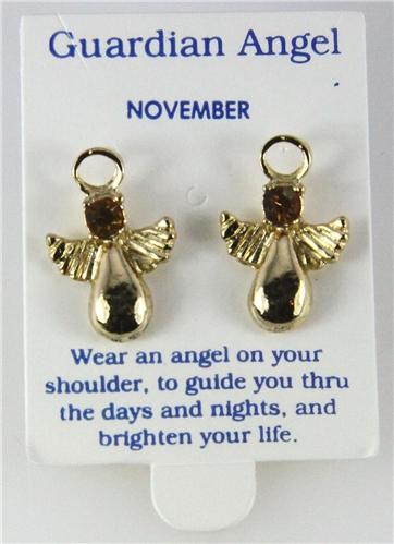 6030330 November Guardian Angel Birthstone Stud 14kt Gold Plated Earrings Chr...