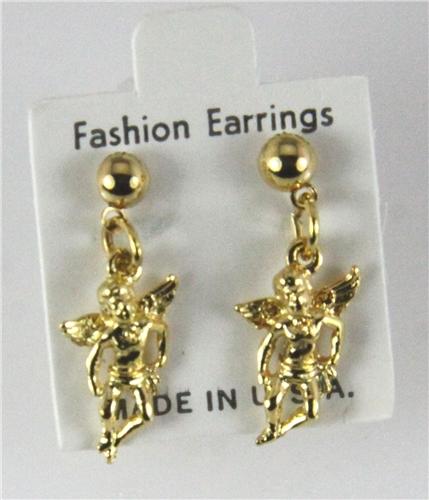 Gold Angel Earrings Angel Ear Pin Earrings Trendearrings