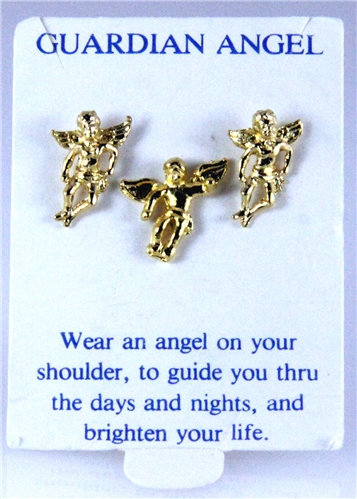 6030352 Angel Pin Brooch Tie Tack & Earring Set 14kt Gold Plated Made in USA ...