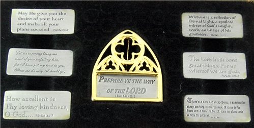 6030391 Cathedral Window Brooch Pin With Assorted Removable Christian Scriptu...