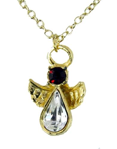6030419 January Birthstone Angel Necklace Pendant Guardian Secret Friend Appr...