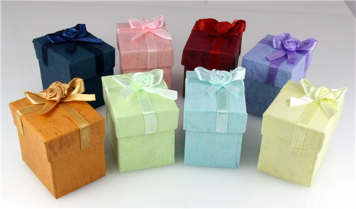 72 Pieces Jewelry Ring Boxes Bow Tie Satin Ribbon and Bow Bowtie Gift Box