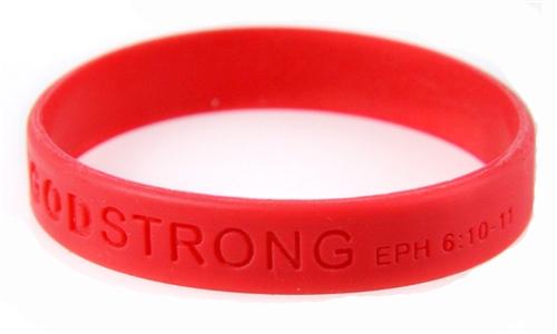 8010002  Set of 3 Red Adult Embossed Godstrong Silicone Band Eph. Ephesians 6:...
