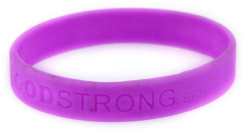 8010004 Set of 3 Purple Adult Embossed Godstrong Silicone Band Eph. Ephesians...