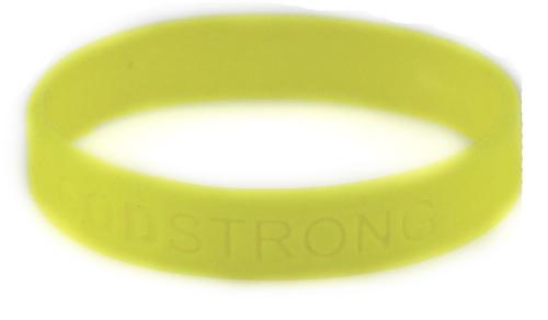 8010006 Set of 3 Yellow Adult Embossed Godstrong Silicone Band Eph. Ephesians...