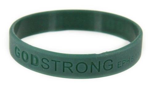 8010009 Set of 3 Dark Green Adult Embossed Godstrong Silicone Band Eph. Ephesians 6:10-11