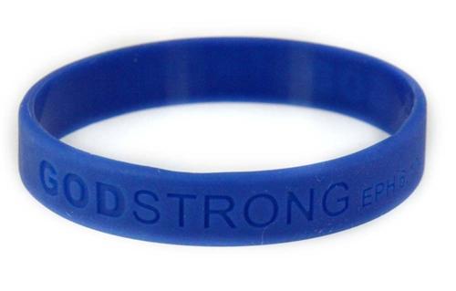 8010010 Set of 3 Blue Adult Embossed Godstrong Silicone Band Eph. Ephesians 6:10-11