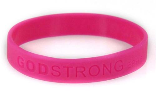 8010013 Set of 3 Pink Adult Embossed Godstrong Silicone Band Eph. Ephesians 6...
