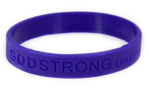 8020008 Set of 3 Purple Child Embossed Godstrong Silicone Band Eph. Ephesians 6:10-11