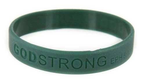 8020009 Set of 3 Dark Green Child Embossed Godstrong Silicone Band Eph. Ephesians 6:10-11