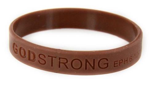 8020011 Set of 3 Brown Child Embossed Godstrong Silicone Band Eph. Ephesians 6:10-11